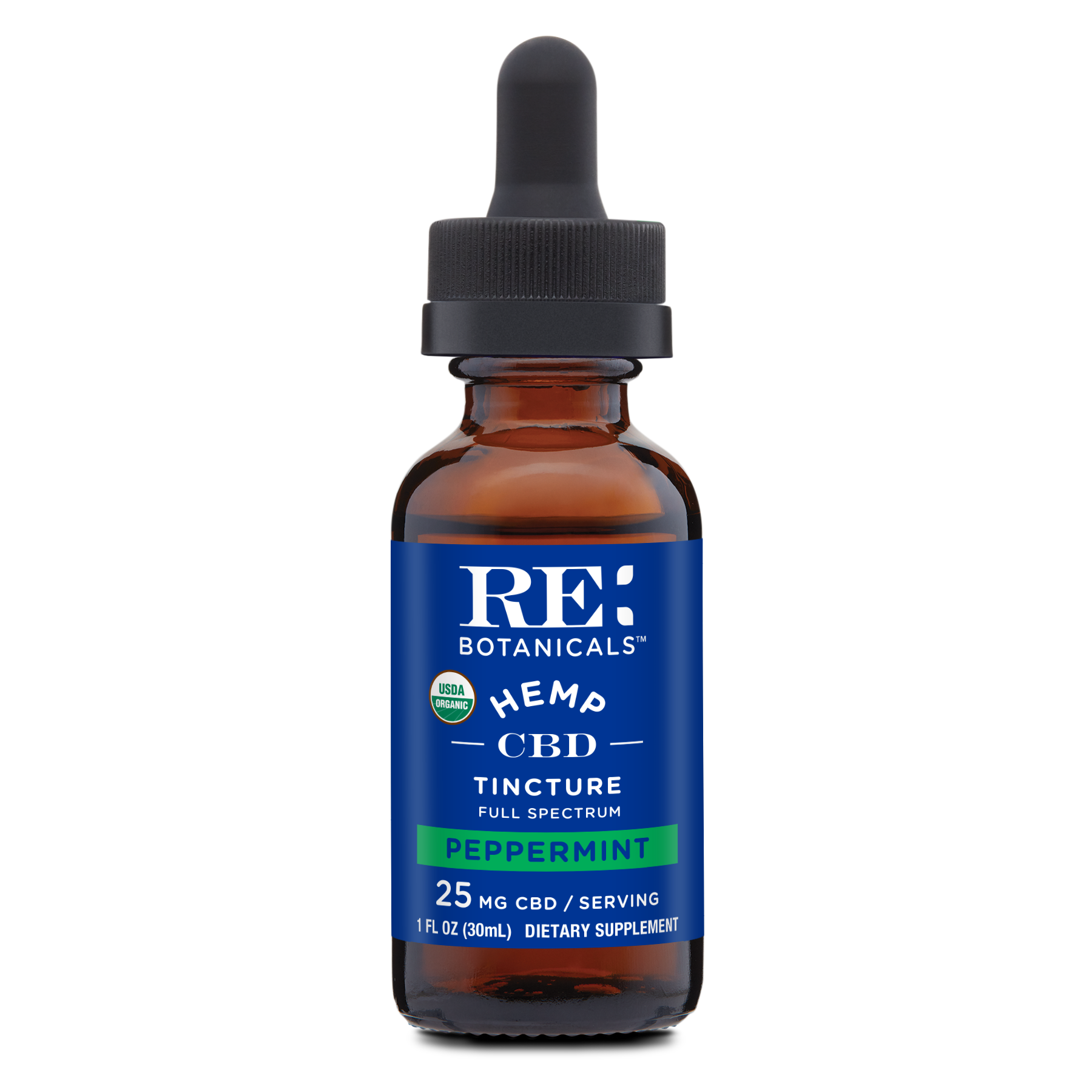 RE Botanicals: Hemp 25 Peppermint Tincture (30mL)